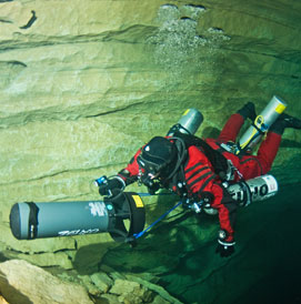technical cave diving, france