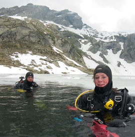 High mountain lake ice diving